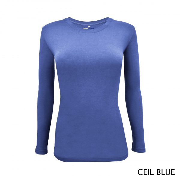 A photo of ceil blue women's stretchy fit shaped long sleeve t-shirt