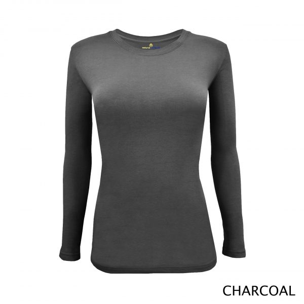 A photo of charcoal grey women's stretchy fit shaped long sleeve t-shirt