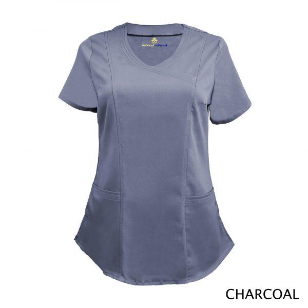 A photo of charcoal wrap stretch scrub top