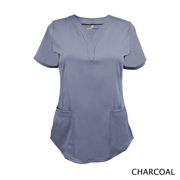 A photo of charcoal v-neck stretch scrub top