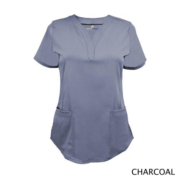 A photo of charcoal v-neck stretch scrub top