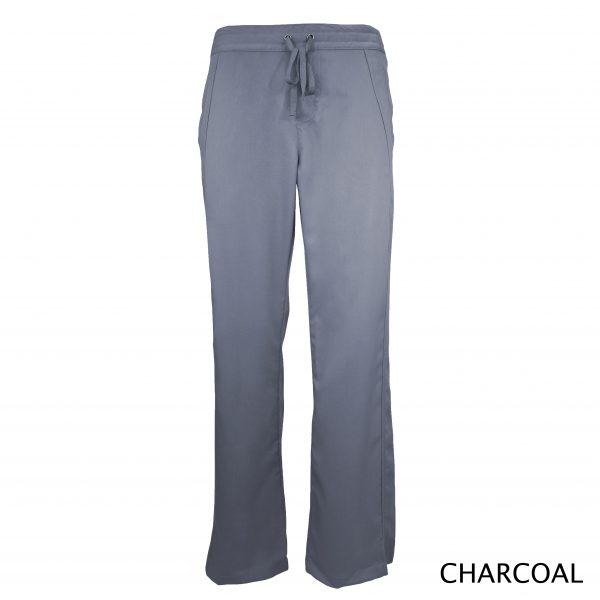 A photo of charcoal women drawstring scrub pants (front))
