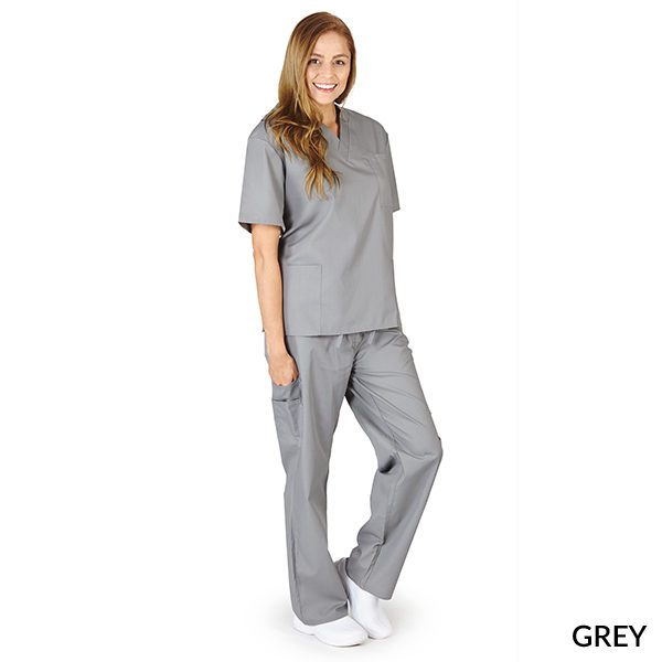 A photo of grey unisex cargo solid v-neck scrub sets