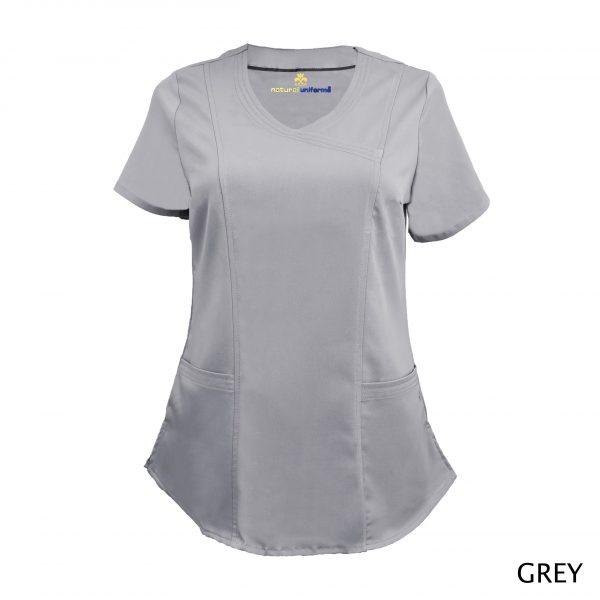 A photo of grey wrap stretch scrub top