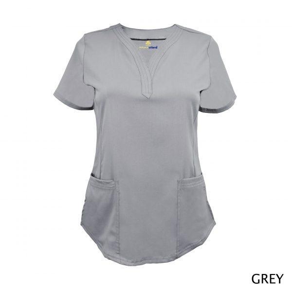 A photo of grey v-neck stretch scrub top