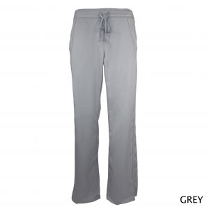 A photo of grey women drawstring scrub pants (front)