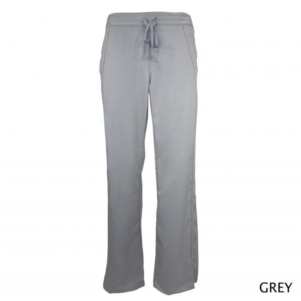 A photo of grey women drawstring scrub pants (front)