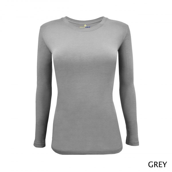 A photo of grey women's stretchy fit shaped long sleeve t-shirt