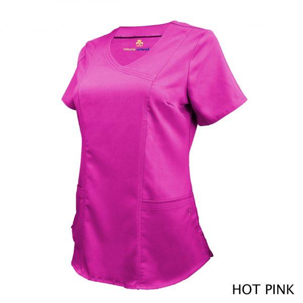 A photo of hot pink wrap stretch scrub top (side)