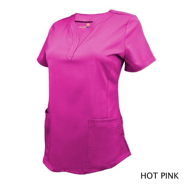 A photo of hot pink v-neck stretch scrub top (side)