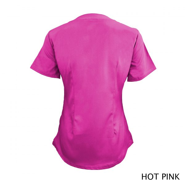 A photo of hot pink v-neck stretch scrub top (back)
