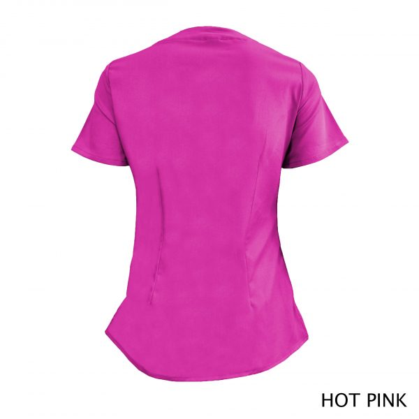 A photo of hot pink wrap stretch scrub top (back)