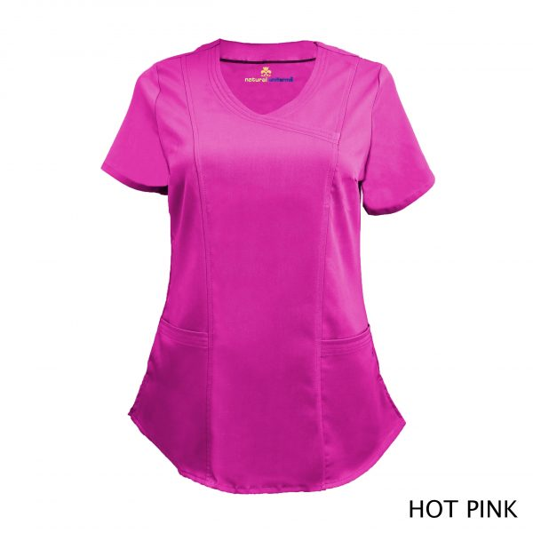 A photo of hot pink wrap stretch scrub top