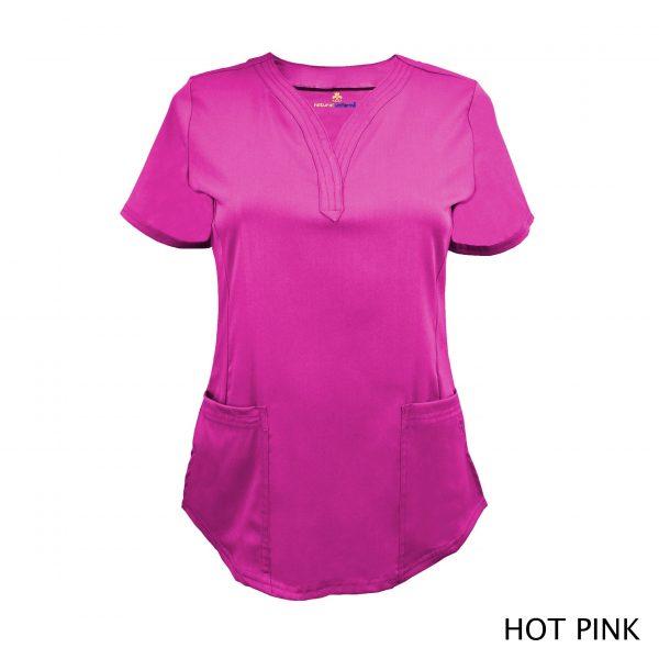 A photo of hot pink v-neck stretch scrub top