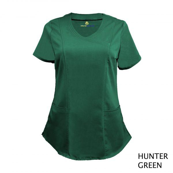 A photo of hunter green wrap stretch scrub top