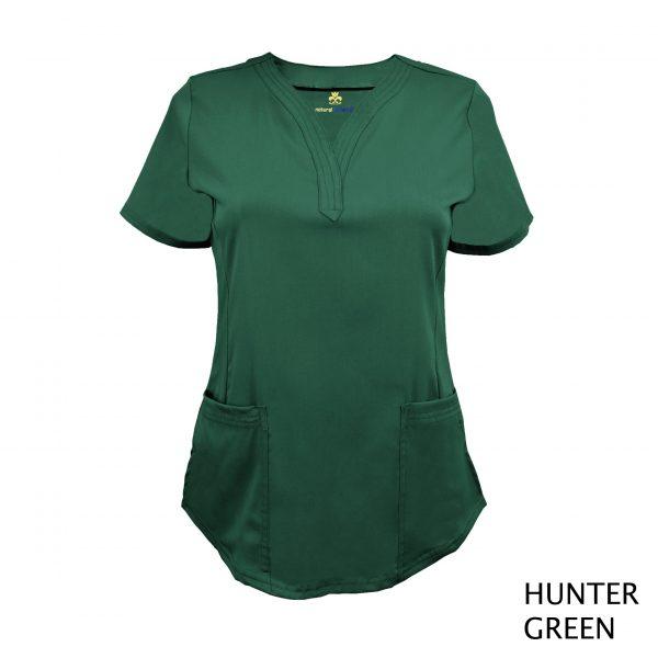 A photo of hunter green v-neck stretch scrub top