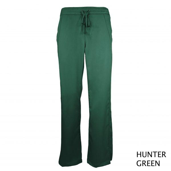 A photo of hunter green women drawstring scrub pants (front))