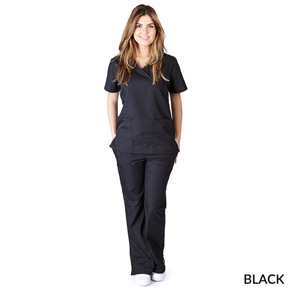 A photo of black mock wrap scrub sets
