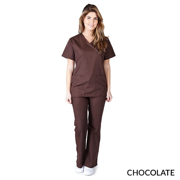 A photo of chocolate mock wrap scrub sets