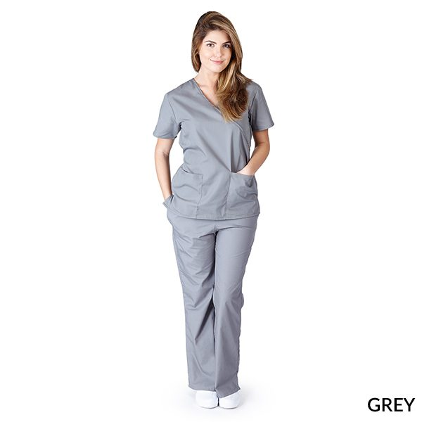 A photo of grey mock wrap scrub sets