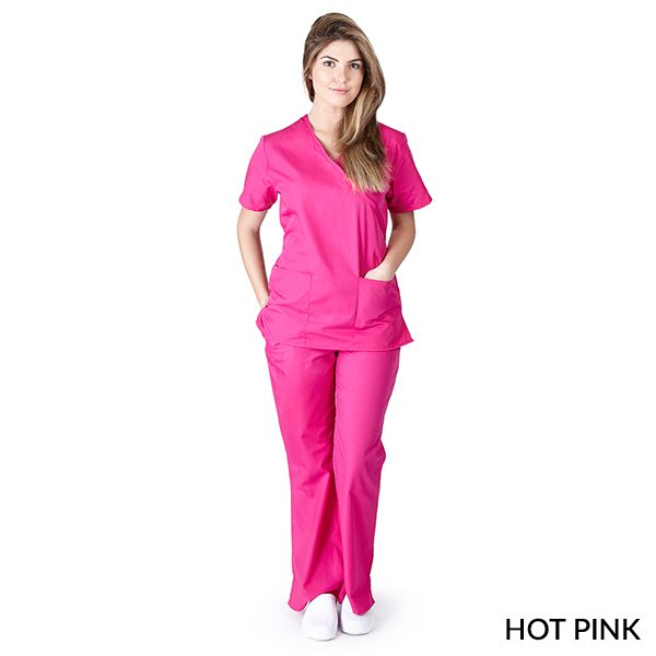 A photo of hot pink mock wrap scrub sets