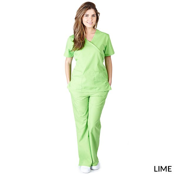 A photo of lime mock wrap scrub sets