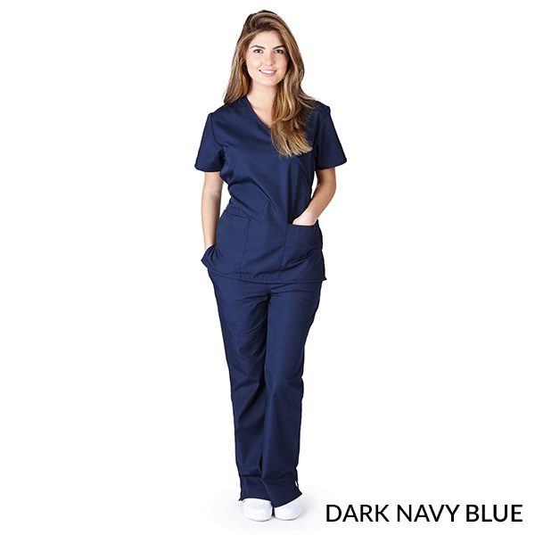 A photo of dark navy blue mock wrap scrub sets