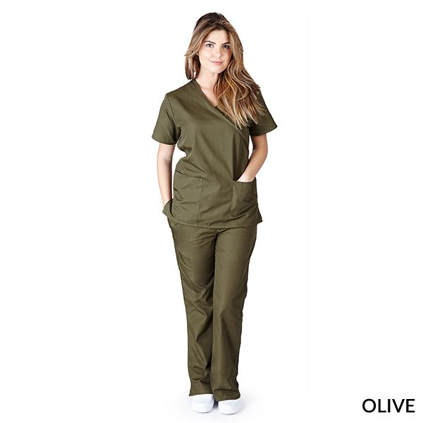 A photo of olive mock wrap scrub sets