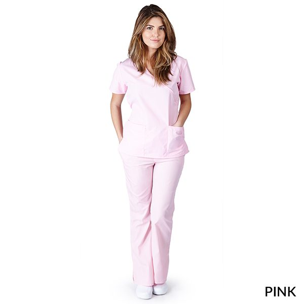 A photo of pink mock wrap scrub sets