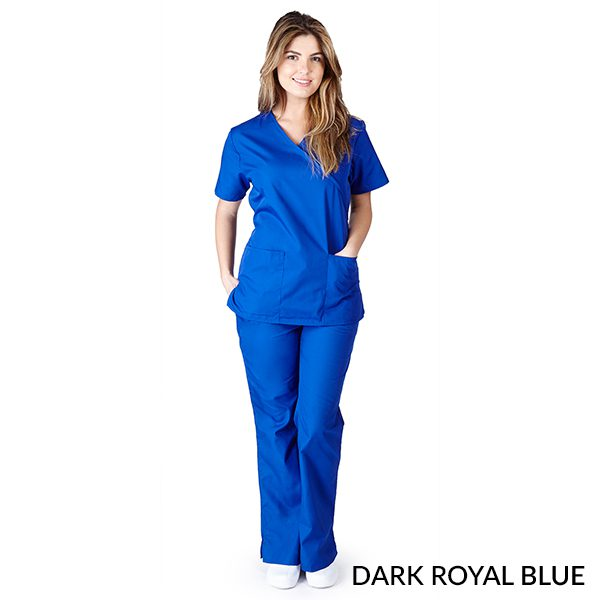 A photo of dark royal blue mock wrap scrub sets