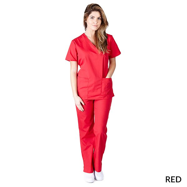 A photo of red mock wrap scrub sets