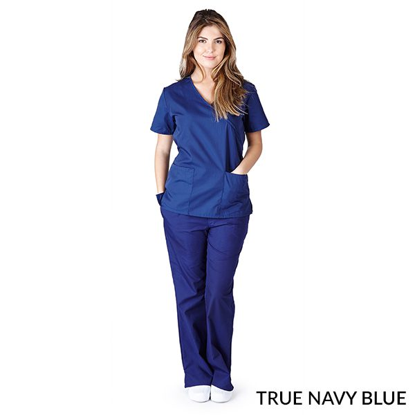 A photo of true navy blue mock wrap scrub sets