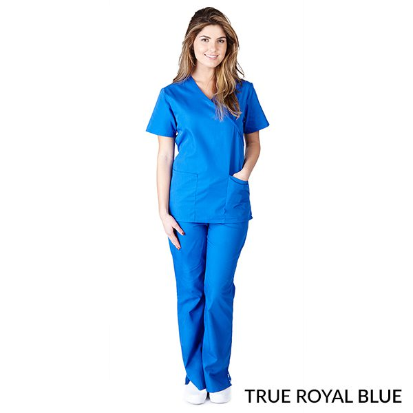 A photo of true royal blue mock wrap scrub sets