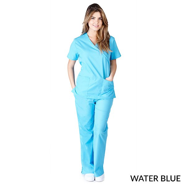 A photo of water blue mock wrap scrub sets