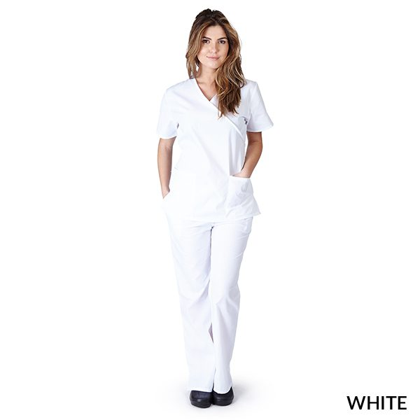 A photo of white mock wrap scrub sets