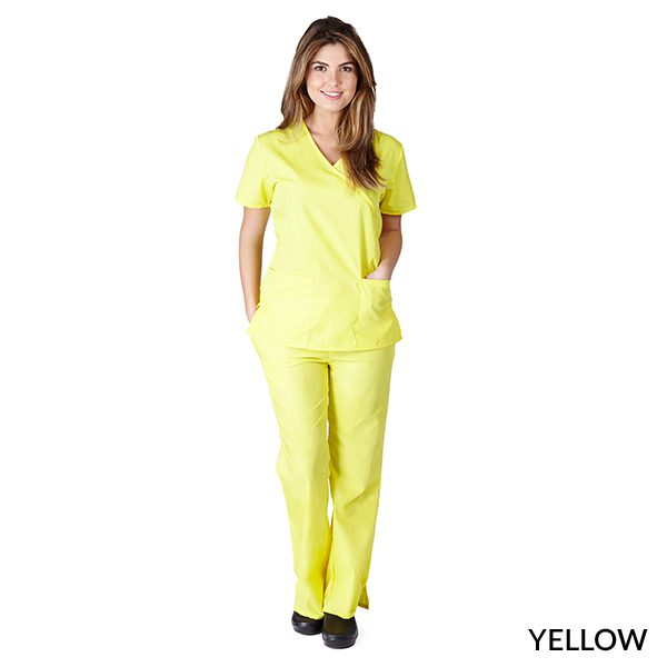 A photo of yellow mock wrap scrub sets