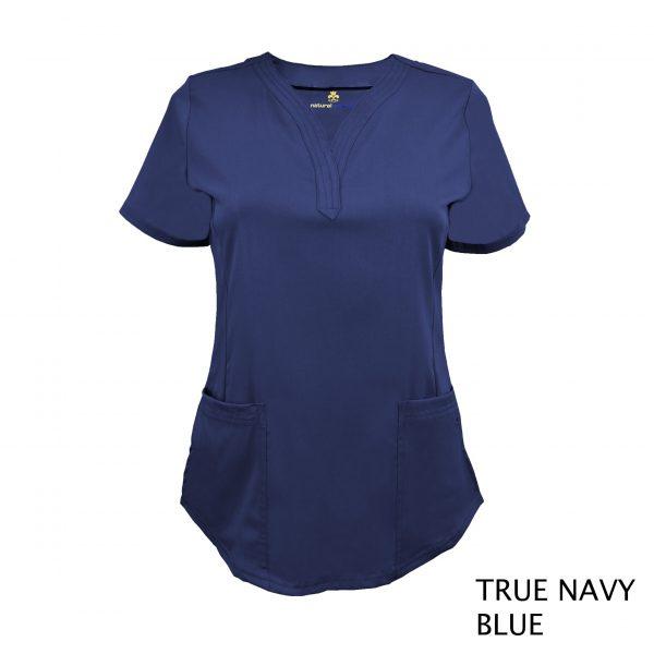 A photo of true navy blue v-neck stretch scrub top