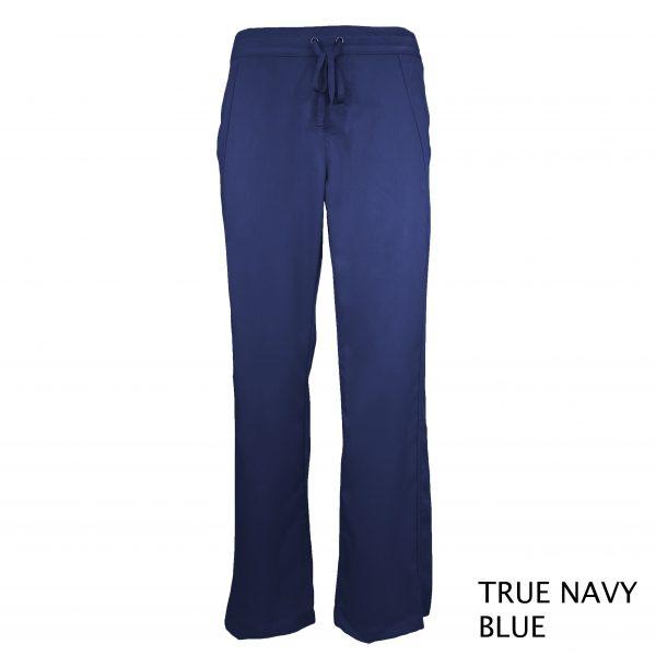 A photo of true navy blue women drawstring scrub pants (front))