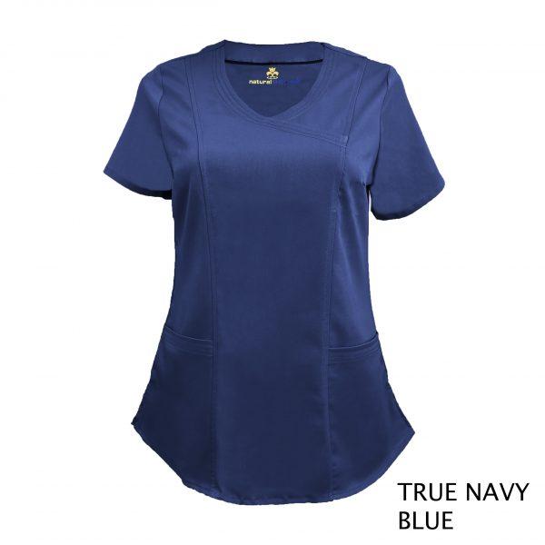 A photo of true navy blue wrap stretch scrub top