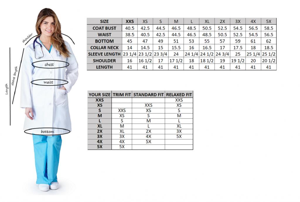 Lab Coats Size Chart