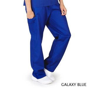 A photo of galaxy blue petite unisex solid cargo pocket pants