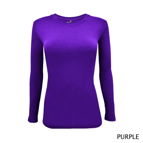 A photo of purple women's stretchy fit shaped long sleeve t-shirt