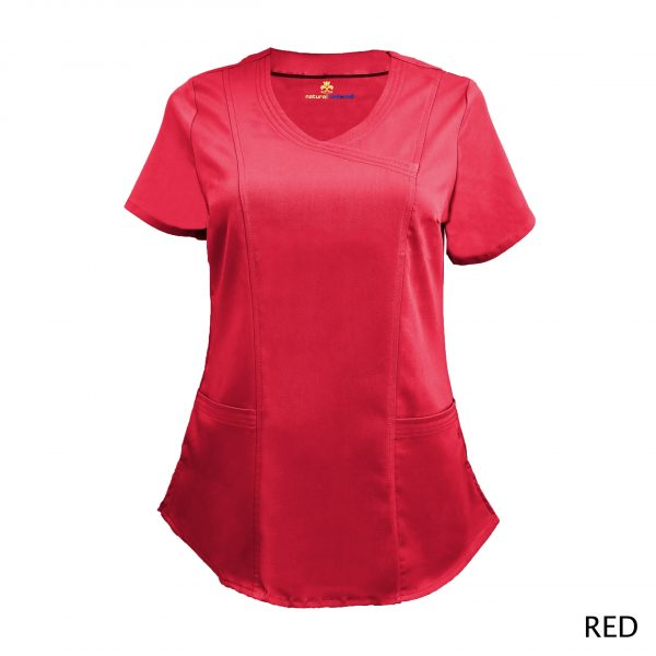A photo of red wrap stretch scrub top
