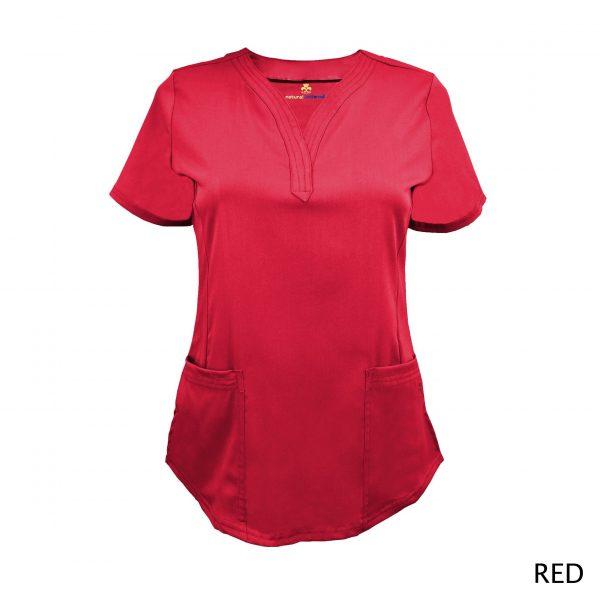 A photo of red v-neck stretch scrub top