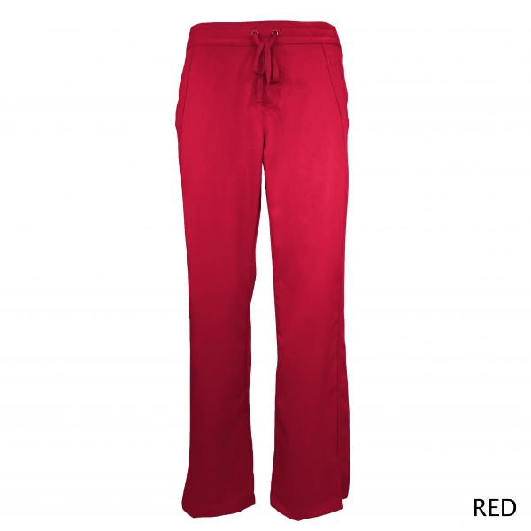 A photo of red women drawstring scrub pants (front))