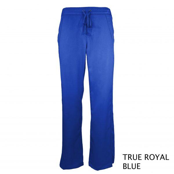 A photo of true royal blue women drawstring scrub pants (front))
