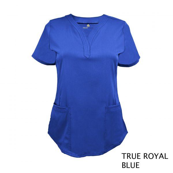 A photo of true royal blue v-neck stretch scrub top