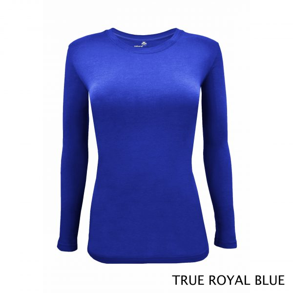 A photo of true royal blue women's stretchy fit shaped long sleeve t-shirt
