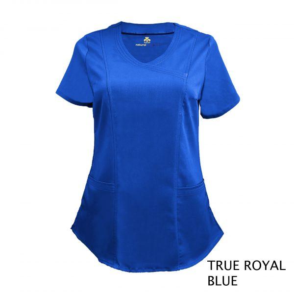 A photo of true royal blue wrap stretch scrub top