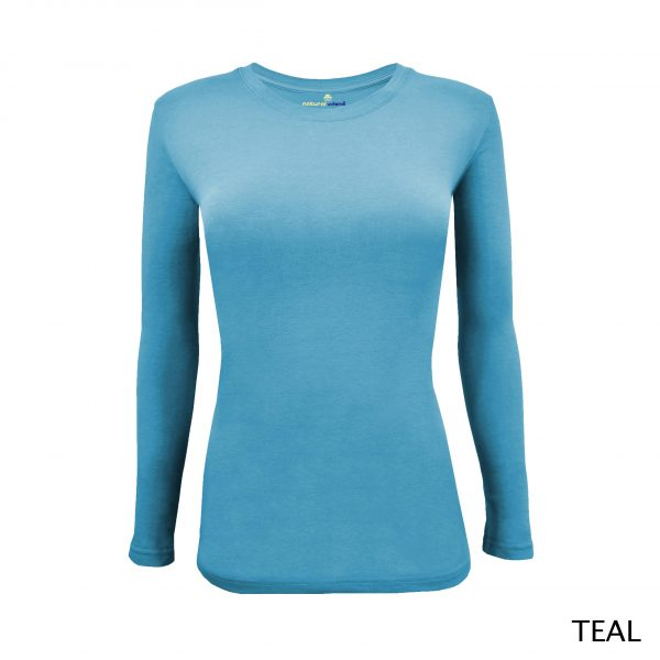 A photo of teal blue women's stretchy fit shaped long sleeve t-shirt